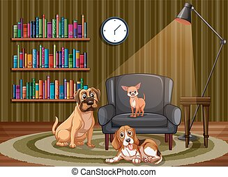 Dogs and living room - Illustration of many dogs in the...