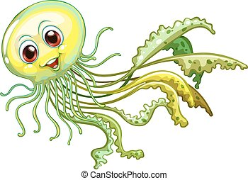 Jellyfish - Illustration of a close up jelly fish