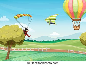 Parachute - Illustration of people doing parachute