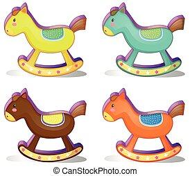 Rocking horse - Illustration of a set of rocking horses