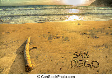 san diego at sunset - san diego written on a golden shore at...