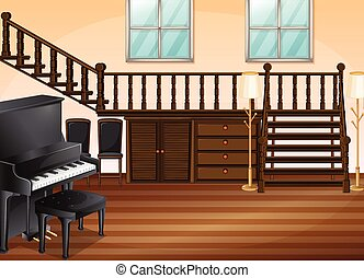 Living room - Illustration of a piano in a living room