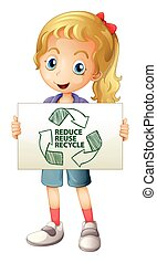 Recycle - Illustration of a girl with a recycling sign