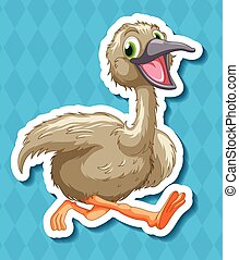 Ostrich - Illustration of a close up baby ostrich