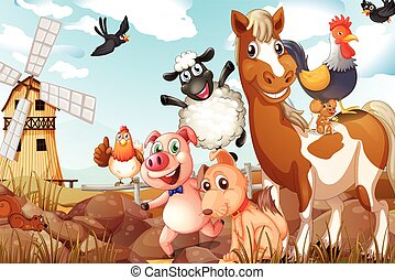 Animals - Illustration of many animals in a farm