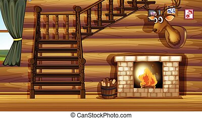 Fireplace - Illustration of a fireplace inside a house