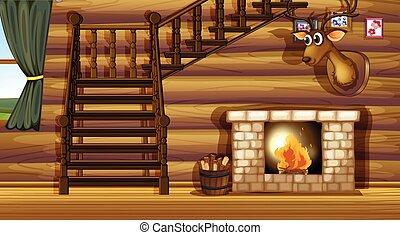 Fireplace - Illustration of a fireplace inside a house