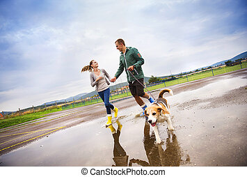Young couple walk dog in rain - Young couple in colorful...