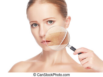 concept skincare. Skin of beauty young woman with magnifier before and after the procedure