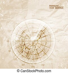 Vintage radar. - Vintage radar printed on old paper. Vector...
