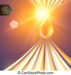 Oil drop. - Oil drop at the sun rays. Vector illustration.