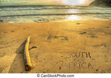 south africa writing at sunset - south africa written on a...