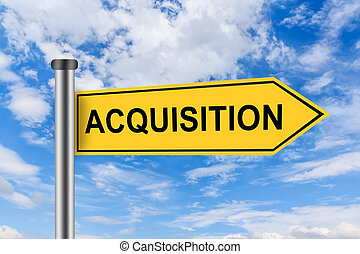 yellow road sign with merger and acquisition words - merger...