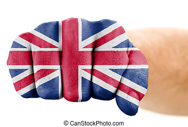 fist with british flag isolated on white