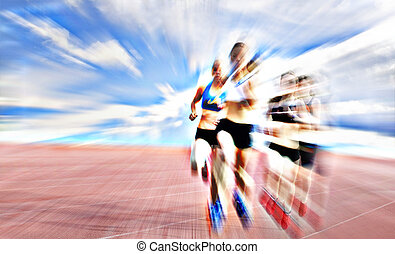 Young female athletes competing in the race - Young female...