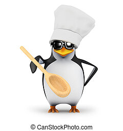 3d Chef penguin with wooden spoon - 3d render of a penguin...