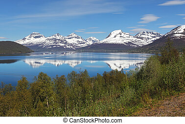 Norway fjord at spring near Tromso