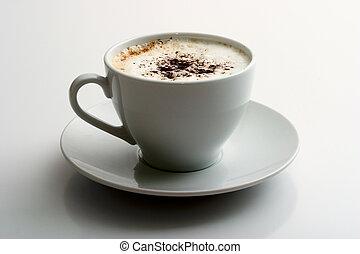 Cappuccino mug on a gray