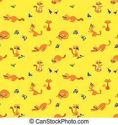 Funny Ginger Cats Seamless Pattern