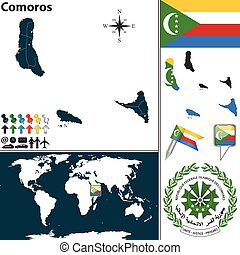 Map of Comoros - Vector map of Comoros with coat of arms and...