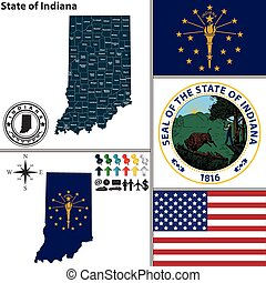 Map of state Indiana, USA - Vector set of Indiana state with...