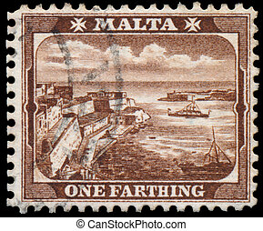 Stamp printed in MALTA shows One Farthing - MALTA - CIRCA...