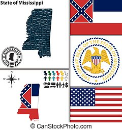 Map of state Mississippi, USA - Vector set of Mississippi...