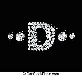 Diamond vector alphabetic letter 'D'