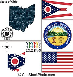 Map of state Ohio, USA - Vector set of Ohio state with flag...