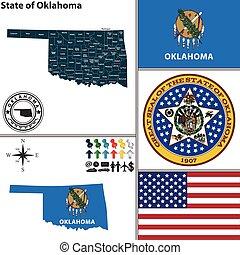 Map of state Oklahoma, USA - Vector set of Oklahoma state...