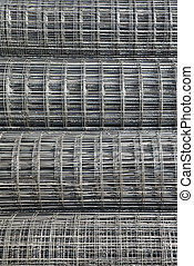 Steel mesh construction material in the harbor of Jakarta