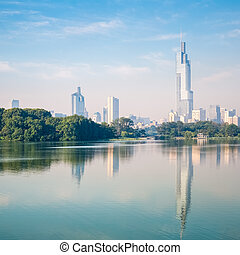 nanjing scenery - beautiful modern city nanjing with the...