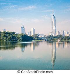 nanjing scenery - beautiful modern city nanjing with the...
