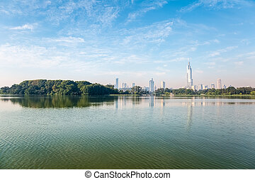 nanjing in the morning , city skyline with beautiful xuanwu...