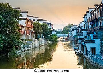 beautiful nanjing qinhuai river in sunset - beautiful...