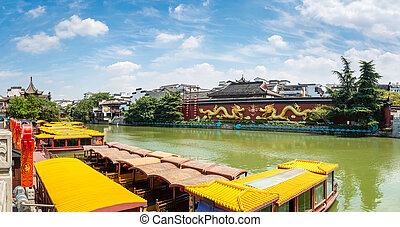 a panoramic view of nanjing confucius temple in sunny sky ,...