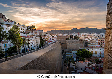 Dalt Vila fortress at sunset - Dalt Vila and Almudaina...