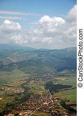 aerial view - Sky view from airplane illuminator near Sofia...