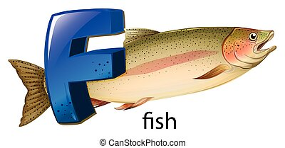 A letter F for fish - Illustration of a letter F for fish on...