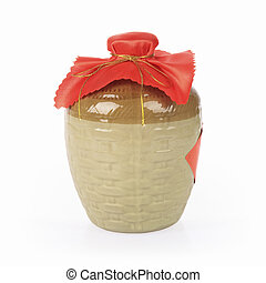 yellow rice wine jar on a white background , the shaoxing...