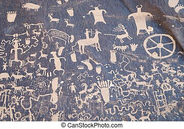 Indian petroglyph in Newspaper Rock, Utah