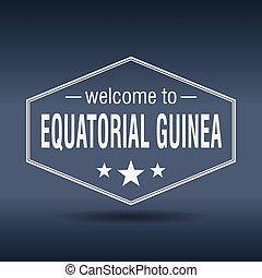 welcome to Equatorial Guinea hexagonal white vintage label