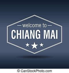 welcome to Chiang Mai hexagonal white vintage label