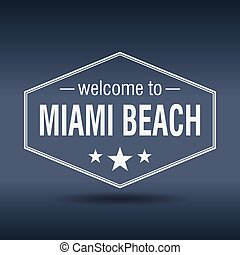 welcome to Miami Beach hexagonal white vintage label