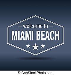 welcome to Miami Beach hexagonal white vintage label