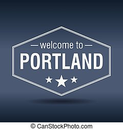 welcome to Portland hexagonal white vintage label