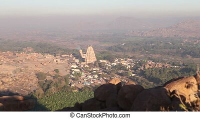 viewpoint in Hampi high in mountains on sunrise