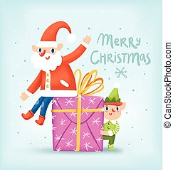 Untitled-1 - Santa, elf and a present, Christmas greeting...