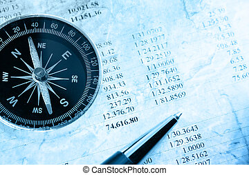 Budget, compass and pen - Operating budget, compass and pen
