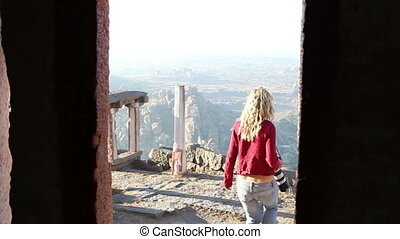 female photographer in temple - female photographer comes...